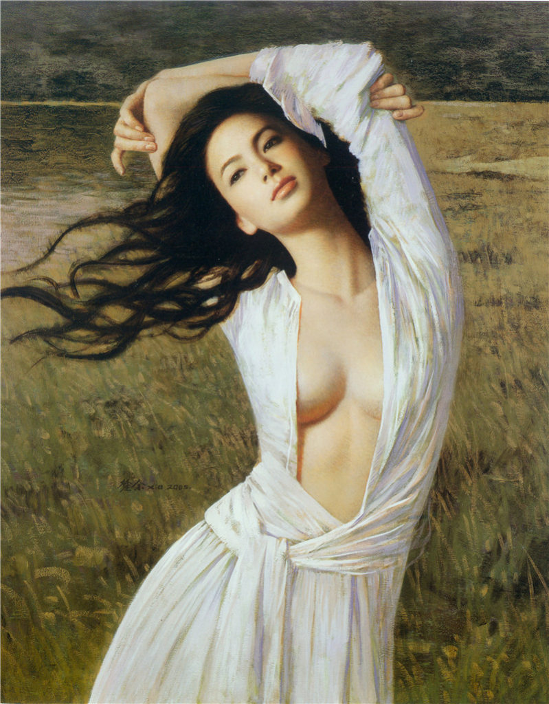 Oil-Painting-Beautiful-Sexy-Long-Hair-East-Girl-Chinese-font-b-Famous-b-font-Painter-Works